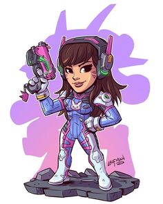 Chibi D.Va from Overwatch. I'll have this print for sale once I complete a set of 4. In the meantime visit www.dereklaufman.com to see all the other prints and stuff I have for sale! (Link in my profile) #chibi #dva #overwatch #fanart #mangastudio...