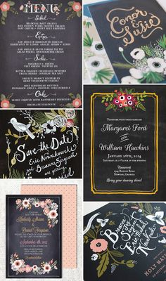 Rustic-Floral-Stationery---Dark - Read More on One Fab Day http://onefabday.com/rustic-whimsical-floral-wedding-invitation/