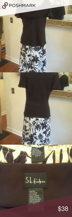 """2 piece blouse and skirt size 14 SL fashions size 14 two piece black short-sleeved top with cream & black elastic waistband skirt , lined 25"""" skirt SL Fashions Skirts Skirt Sets"""
