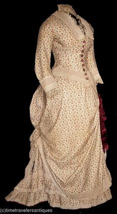1880's cotton day dress front view - victorian gown with bustle in floral print