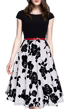 bd6208fef1db HOMEYEE Women s 1950s Vintage Elegant Cap Sleeve Swing Party Dress A009 (S