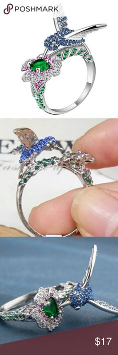 Hummingbird & Flower / Sapphire & Emerald Ring BRAND NEW  - Size 8 - Sterling Silver with sapphires and emeralds.   Very unique ring featuring a Hummingbird and flower.  Are you a bird lover?  THIS RING IS FOR YOU!! Katriels Korner Jewelry Rings
