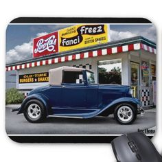 1931 Ford Cabriolet Hot Rod Car Classic Drive In Mouse Pad - classic gifts gift ideas diy custom unique