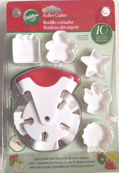 Wilton New Roller Cutter Christmas 10 Detachable Mini Cutters Roll Cut Holidays #Wilton #Christmas #Holidays #Baking