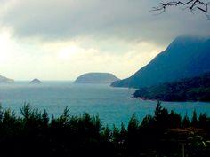 View of ocean Van son temple ,Con Dao archipelago island vietnam