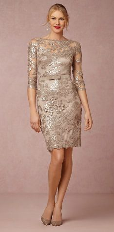 Beautiful metallic lace mother-of-the-bride dress in cocktail length