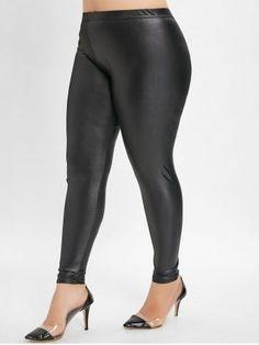 c350a0446b25e8 Elastic Waist Plus Size Faux Leather Leggings - BLACK - 3X Cheap Leggings, Black  Leggings