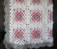 Diy Crafts - baby girl lacy granny square baby crochet by DonnasPinsandNeedles Granny Stripe Crochet, Striped Crochet Blanket, Granny Pattern, Baby Afghan Crochet, Crochet Quilt, Manta Crochet, Crochet Blanket Patterns, Crochet Motif, Diy Crafts Crochet