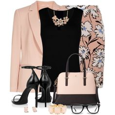 A fashion look from June 2015 featuring sleeveless jersey, pink blazer and patterned skirts. Browse and shop related looks. Office Fashion, Work Fashion, Fashion Outfits, Womens Fashion, Classy Fashion, Classy Outfits, Cute Outfits, Jw Mode, Donia