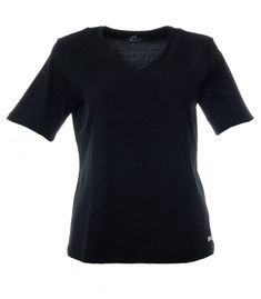 www.zimano.de t-shirt-mit-v-ausschnitt-damen-schwarz-grosse-groessen-baumwolle a-433581