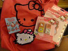 Stenciled Hello Kitty Tote, Perler Beads Kitty magnet - Make-a-Friend Swap Round 9 :: Summer 2012 GALLERY - ORGANIZED CRAFT SWAPS