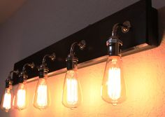Bathroom Vanity Lamp - Bathroom Lighting - Vanity lighting - Edison Bulb Lamp - Nickel Hardware - Bathroom Light fixture - Customizable by PartyandHomeDesign on Etsy Rustic Bathroom Lighting, Rustic Bathroom Vanities, Bathroom Vanity Lighting, Cottage Lighting, Industrial Lighting, Bathroom Ideas, Vanity Light Fixtures, Led Light Fixtures, Diy Vanity Lights