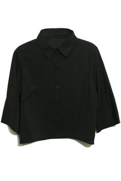 Cropped Length Point Collar Black Shirt. Description Black shirt,featuring point collar,middle-length sleeves styling,single-breasted fastening to the central front,one oblique pocket embellished to the upper chest,cut with cropped length. Fabric 91%-95%Chiffon Washing Cool hand wash with similar colours, do not tumble dry. #Romwe