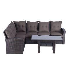 Patio Furniture Corner Sofa Set Table Cushions Lounge Outdoor Rattan Seating