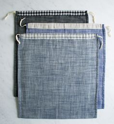 Molly's Sketchbook: Drawstring Shoe Bags - Purl Soho - Knitting Crochet Sewing Embroidery Crafts Patterns and Ideas!