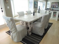 Slipcovers and Cushions Inspiration - NikkiDesigns Dining Chairs, Dining Room, Dining Table, Cushion Inspiration, Furniture Slipcovers, Parsons Chairs, Decorating Ideas, Cushions, Natural