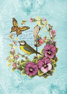 bird flower and butterfly