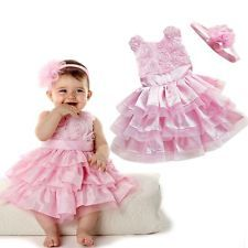2PCS Baby Girls Infant Bow Tutu Bress+Flower Headband Outfit Clothes SZ 1 2 3 T