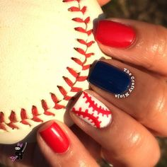 Baseball Nail Art Tutorial -Follow Driskotech on Pinterest!