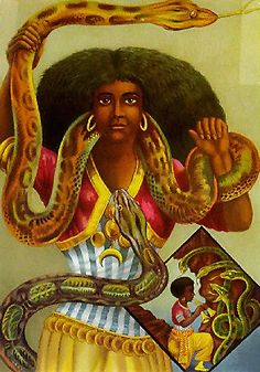 Mami Wata (or Mamy-Wata) is venerated throughout much of Africa and the African diaspora of the Atlantic. An embodiment of the spirit of water, Mami Wata often appears in the guise of a mermaid, accompanied by a snake that serves as a symbol of divinity. In African legend, Mami Wata is both protective and seductive, with a volatile, dangerous temperament suited to her element of water. She is known to capture spirits and bestow riches, and to govern an innumerable host of water spirits known…