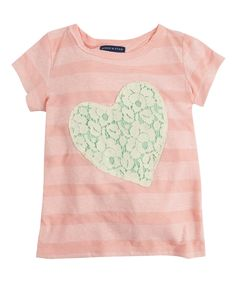 Look at this Pink Stripe Lace Heart Tee - Infant, Toddler & Girls on #zulily today!