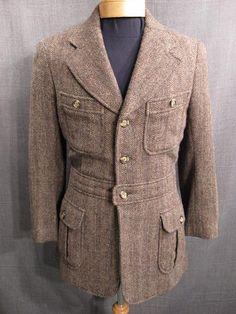 Norfolk Jacket Men's 1920s, brown multi tweed