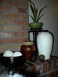 Grouped pottery, great look for empty corners.
