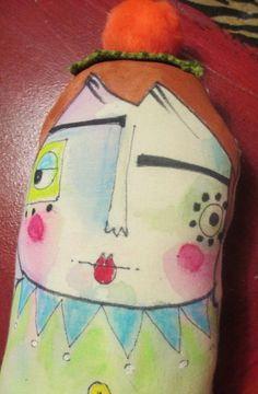 Samantha a little handpainted stuffed doll by artbynancye on Etsy, $25.00