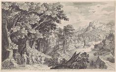 Nicolaes de Bruyn   Oordeel van Paris, Nicolaes de Bruyn, Francoys van Beusekom, 1600   Een landschap met op de voorgrond links het oordeel van Paris. Mercurius heeft Paris naar de goden gebracht om een schoonheidswedstrijd tussen godinnen te beslechten. Hij moet kiezen wie het mooiste is: Juno (met als attribuut de pauw), Minerva (in wapenrusting) of Venus (met naast haar Cupido). Paris kiest voor Venus en overhandigt haar als prijs een gouden appel. Op de achtergrond een dorp naar een…