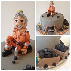 Ticket Boo Cakes - Coal Miner - Cake by Tickety Boo Cakes Just Cakes, Cakes For Boys, Cakes And More, Mini Tortillas, Cake Cookies, Cupcake Cakes, Dad Cake, Retirement Cakes, Adult Birthday Party