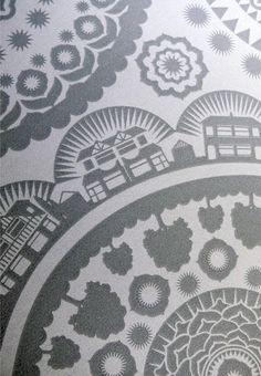 Mini Moderns 'Paisley Crescent' wallpaper in Concrete colour - detail1  minimoderns.com/shoppe