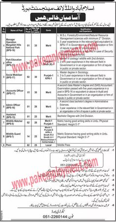 Pakistan Employment: Islamabad Wild Life Management Board Jobs Latest A...