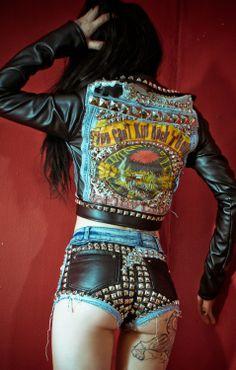 Toxic Vision Motley Crue denim leather jacket studs OOAK S Hair Metal Glam Rock Ropa Punk Rock, Style Punk Rock, Chicas Punk Rock, Metal Fashion, Punk Fashion, Fashion Week, Lolita Fashion, Fashion Boots, Street Fashion