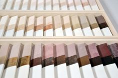 Ceramic Paint collection by Kirstie van Noort     Twelve materials originating from the china, tin and copper industry in Cornwall were used to form the basis for this paint chart.