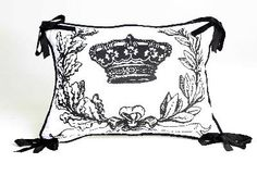 Black and White Crown Pillow by Davenport Home Furnishings