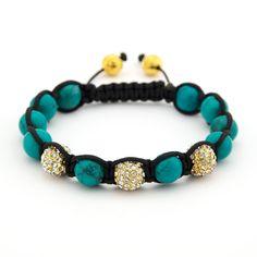Turquoise and Crystal Shamballa Inspired Bracelet