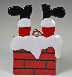 Black Friday Fused Glass Stuck Santa Christmas by GibsonPottery, $22.00