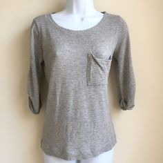 Splendid Grey Striped 3/4 or Long Sleeve Top XS It's in excellent condition with the exception of a small hole on the back sleeve. Rayon polyester lurex blend fabric. Made in the USA! Splendid brand clothing is known for how comfortable and soft it is and this top is no exception Splendid Tops