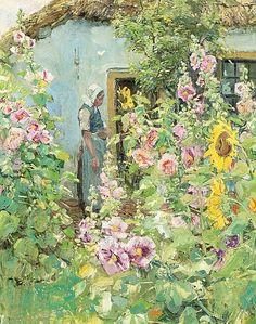 """Summer Garden"" ~ Oil on Canvas by Paul Rink Dutch Artist . Garden Painting, Garden Art, Illustration Art, Illustrations, Dutch Artists, Art For Art Sake, Renoir, Summer Garden, Monet"