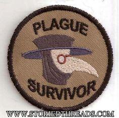 Plague Survivor Geek Merit Badge Patch, by Storied Threads. $8.00