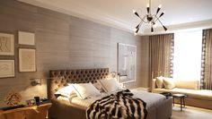 Nanjoo Design - grasscloth wallpaper, taupe velvet headboard, taupe tufted headboard, taupe vel...