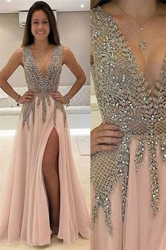 A-Line V-Neck Backless High Slit Champagne Chiffon Prom Dress with Beading