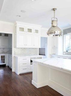 L. Kae Interiors - kitchens - Ralph Lauren Montauk XL Pendant, white and gray kitchen, white cabinets, beaded cabinets, beaded kitchen cabin...  Room off kitchen