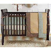 Logan Solid Blue and Brown Luxury 4 Piece Crib Set
