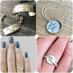 Engraved handwriting jewelry at HeidiJHale includes custom necklaces, bracelets and more. Shop special and personal gifts for your loved ones today. Custom Jewelry, Handmade Jewelry, Unique Jewelry, I Love You Mom, Just For You, Personalized Rings, Sterling Silver Chains, Dog Tag Necklace, Jewelry Design