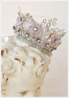French beaded flowers fashioned into an heirloom crown.  Super inspiring! I wonder if I could adapt my flowers to make one