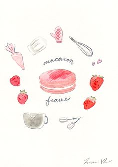 Strawberry Macaron Recipe - Hand-painted Watercolor print 5 x 7 - Paris French Laduree Herme Bakery Kitchen. $20.00, via Etsy.