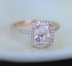 White sapphire engagement ring. 14k rose gold engagement ring.