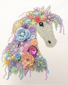 Sparkly Lilac button art unicorn, nursery kids bedroom decor - made to order Vintage Jewelry Crafts, Recycled Jewelry, Jewelry Art, Jewellery, Unicorn Crafts, Unicorn Art, Rainbow Unicorn, Button Art, Button Crafts