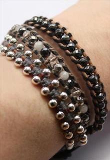 Cotton Cord & leather wrap bracelets